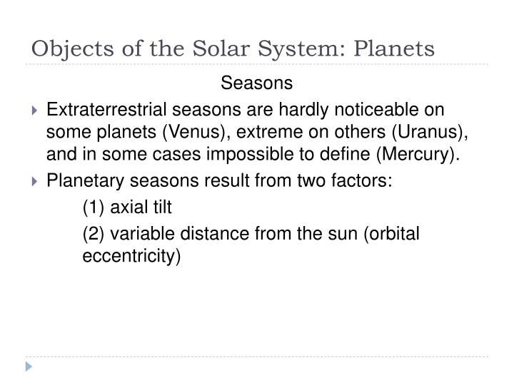 Objects of the Solar System: Planets