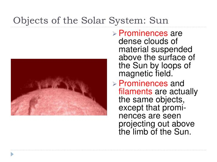 Objects of the Solar System: Sun