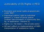 justiciability of es rights in red