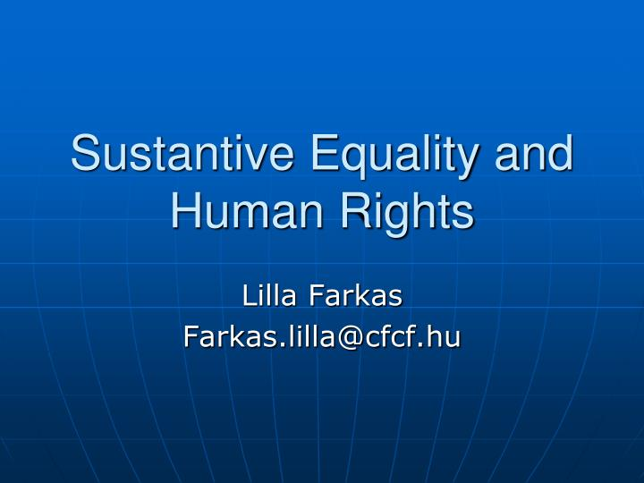 sustantive equality and human rights n.