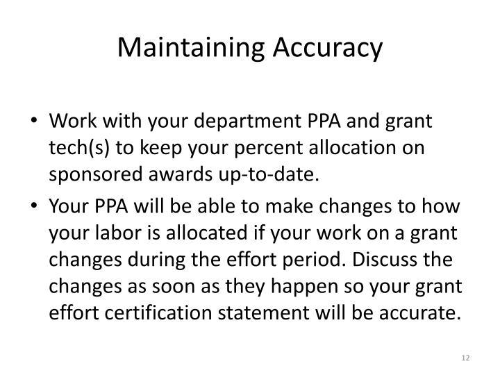 Maintaining Accuracy