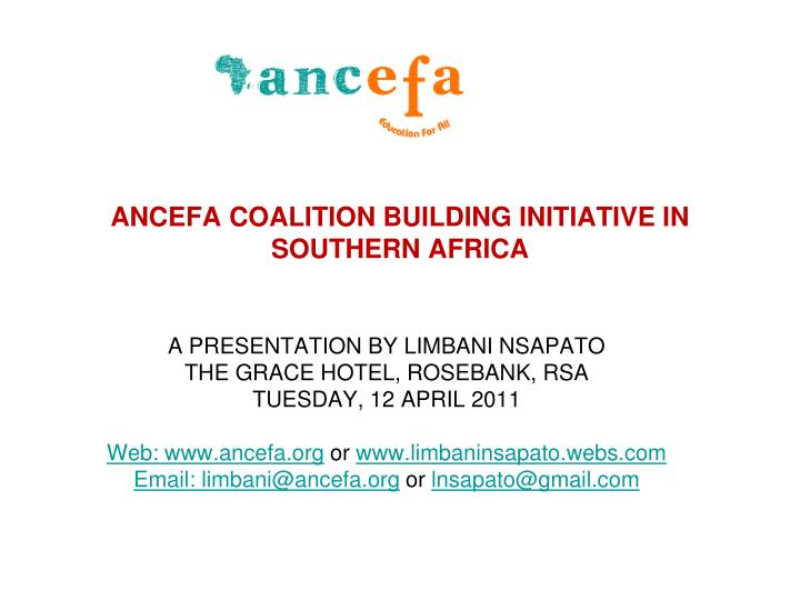 ancefa coalition building initiative in southern africa n.