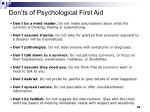 don ts of psychological first aid