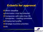 criteria for approval