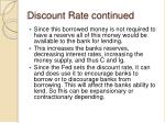 discount rate continued