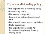 exports and monetary policy