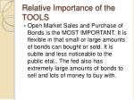 relative importance of the tools