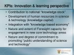 kpis innovation learning perspective