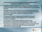 the new policy directions that were proposed within the nsi framework included the following