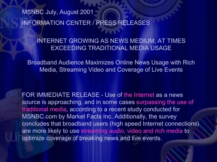 MSNBC July, August 2001