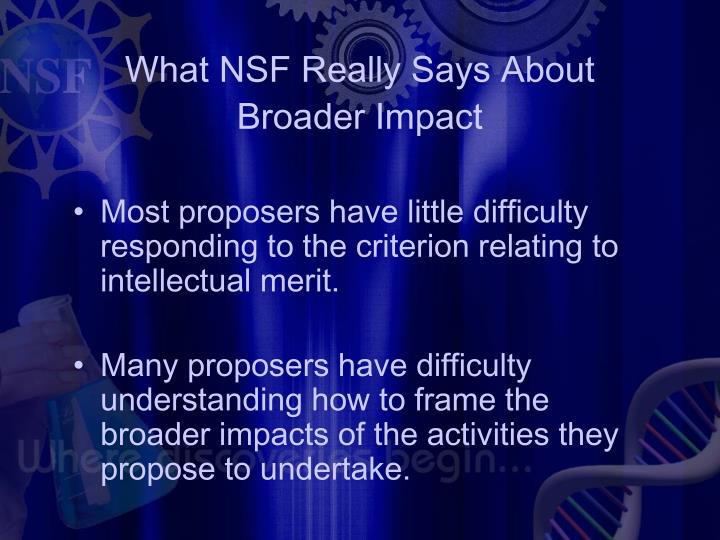 What NSF Really Says About Broader Impact