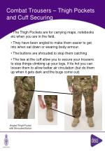 combat trousers thigh pockets and cuff securing