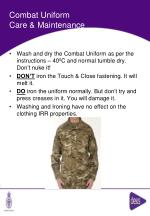 combat uniform care maintenance