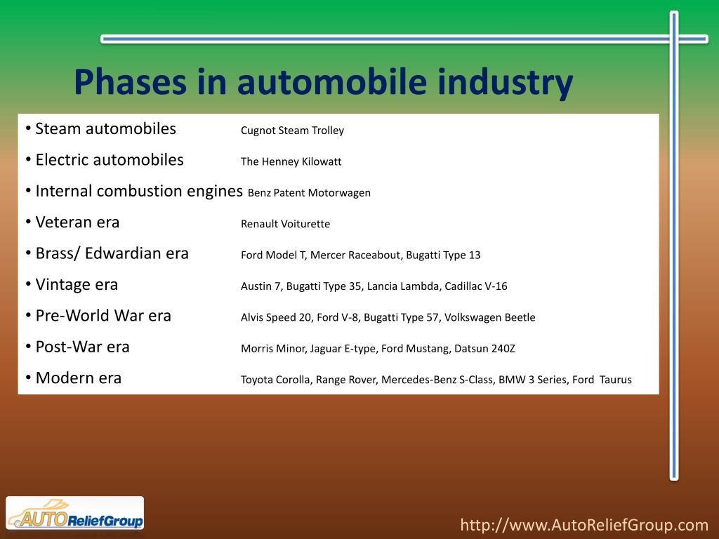Phases in automobile industry