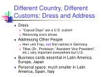 different country different customs dress and address