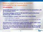 mesures visant favoriser le maintien l installation et les coop rations6
