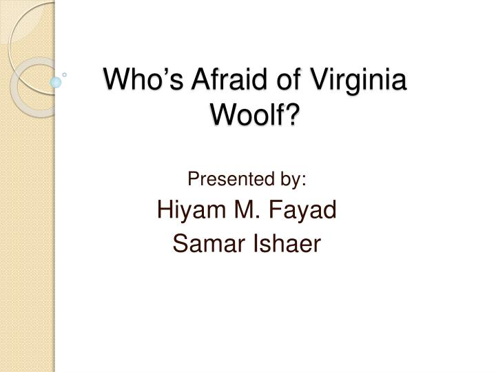 who s afraid of virginia woolf n.
