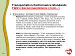 transportation performance standards twg s recommendations cont