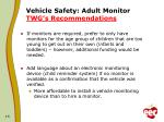 vehicle safety adult monitor twg s recommendations