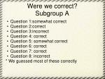 were we correct subgroup a