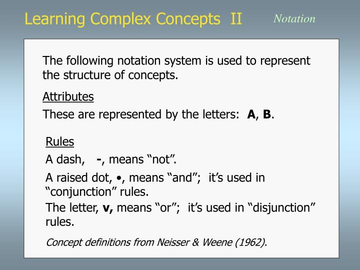 learning complex concepts ii n.