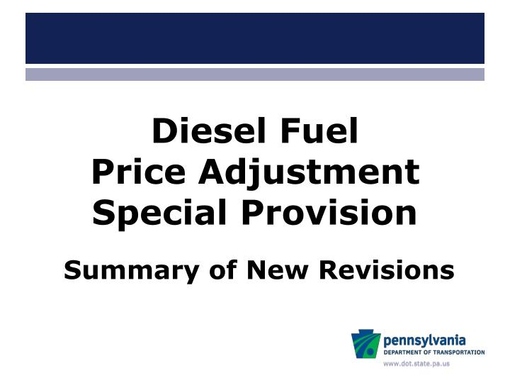 diesel fuel price adjustment special provision n.