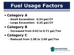 fuel usage factors