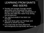 learning from saints and seers