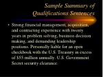 sample summary of qualifications sentences