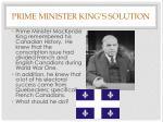 prime minister king s solution
