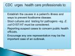 cdc urges health care professionals to