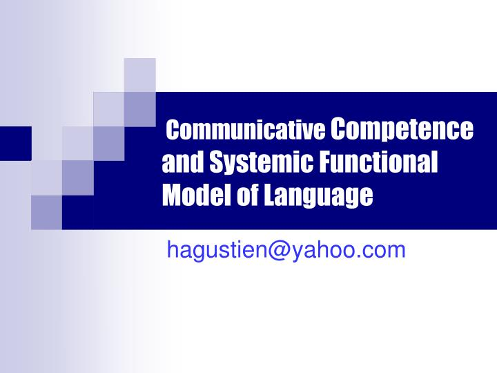 communicative competence and systemic functional model of language n.