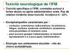 toxicit neurologique de l ifm