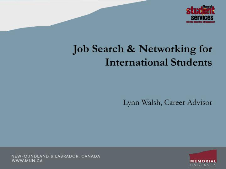 job search networking for international students n.
