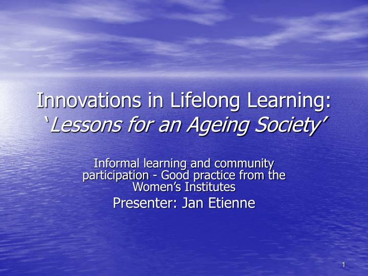 innovations in lifelong learning lessons for an ageing society n.