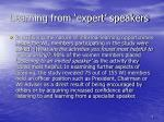 learning from expert speakers
