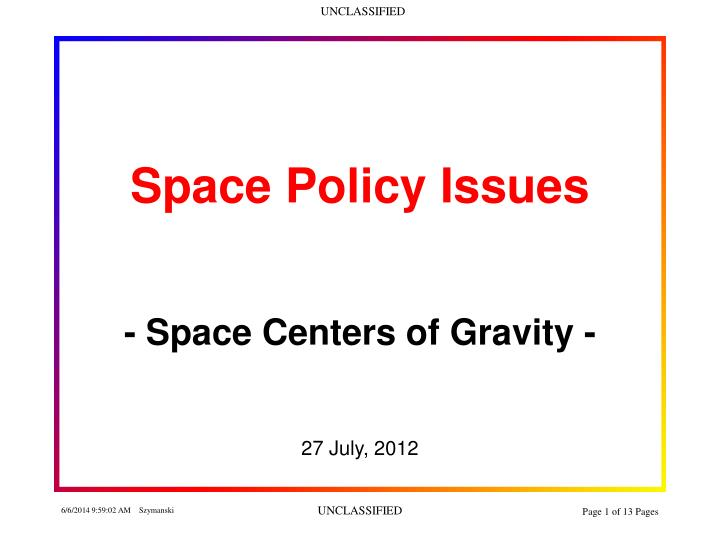 space policy issues n.