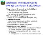 databases the natural way to leverage parallelism distribution
