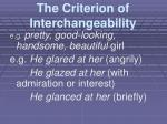 the criterion of interchangeability1