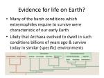 evidence for life on earth