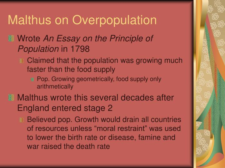 essay principle population excerpts Excerpt chap i of moral restraint an essay on the principle of population or a view of its past and present effects on human happiness.