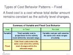 types of cost behavior patterns fixed