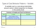 types of cost behavior patterns variable