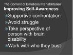 the content of emotional rehabilitation improving self awareness2