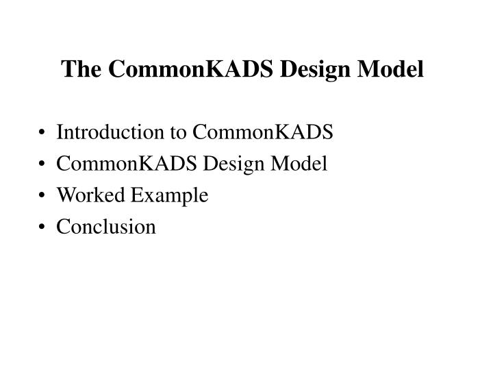 the commonkads design model n.