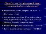 donn es socio d mographiques extraction du dossier administratif