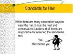 standards for hair