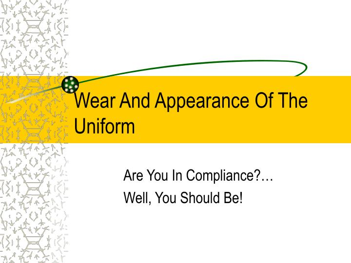 the proper wear and appearance of What army regulation covers the wear and appearance of the military uniform the flag is worn on the right shoulder to give the effect of the flag flying in the breeze as the wearer moves forward when is the only time that commercially designed protective headgear is authorized for wear with uniform.