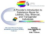 a provider s introduction to substance abuse for lesbian gay bisexual and transgender individuals