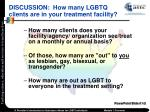 discussion how many lgbtq clients are in your treatment facility